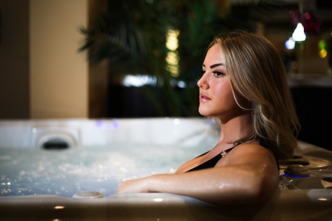 Marie Flow in a hot tub