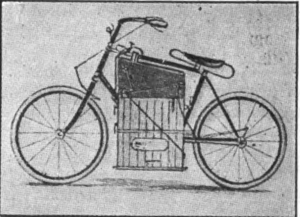Drawing of 1886 Roper steam velocipede