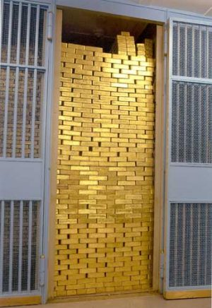 A picture from the gold vault of the Federal Reserve Bank of New York