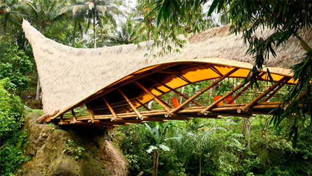 Bamboo bridge at Green School Bali