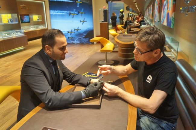 Breitling Boutique Las Vegas manager Michael Bedrossian fits author with the latest Swiss timepiece
