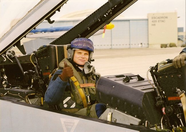 """The (somewhat younger) author about to take off on an F-18 ""Top Gun"" aerial combat exercise involving seven supersonic fighters"