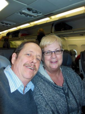 My husband and I on our way to San Francisco to celebrate our 30th wedding anniversary