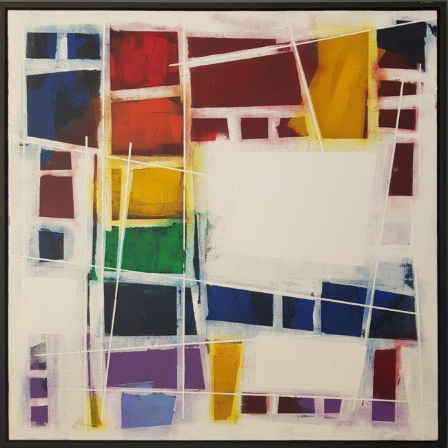 """Pinch the Rainbow   36x36""""  Acrylic on Canvas  (Framed)"""