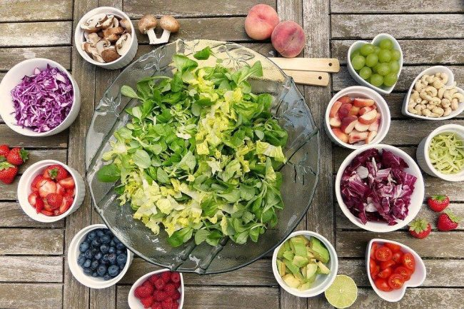 Salad, fruits and berries