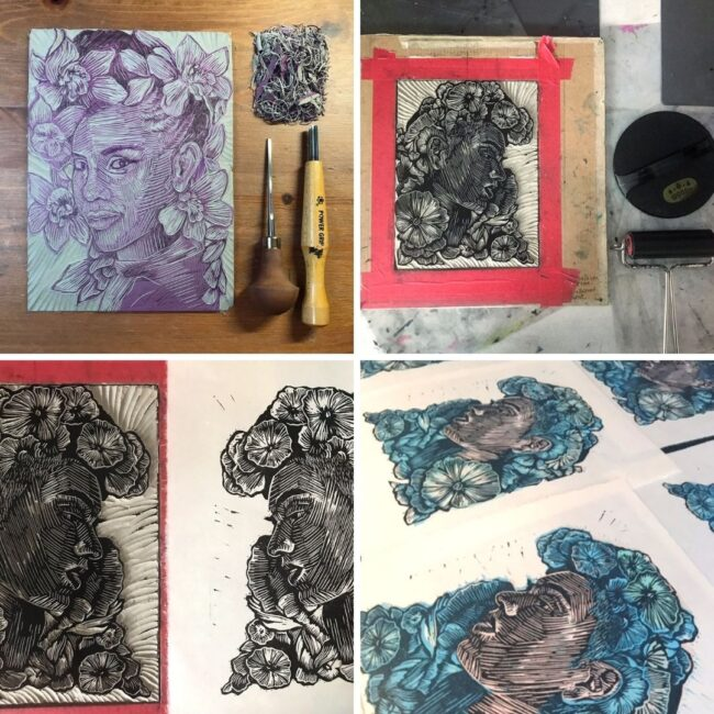 Behind the scenes photos showing the process of linocut