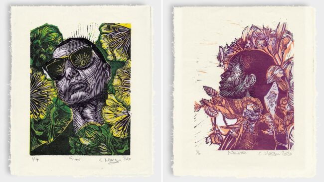 Reduction linocut prints from the recent 'bloom' series
